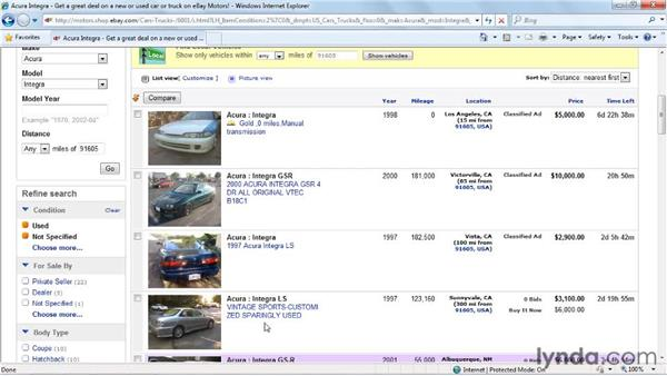 Shopping for cars in eBay Motors: eBay for Buyers Essential Training