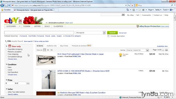 Browsing categories: eBay for Buyers Essential Training