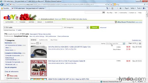 Searching for completed items: eBay for Buyers Essential Training