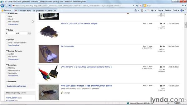 Filtering searches: eBay for Buyers Essential Training