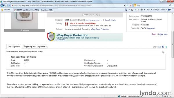 Sharing a listing page with someone else: eBay for Buyers Essential Training