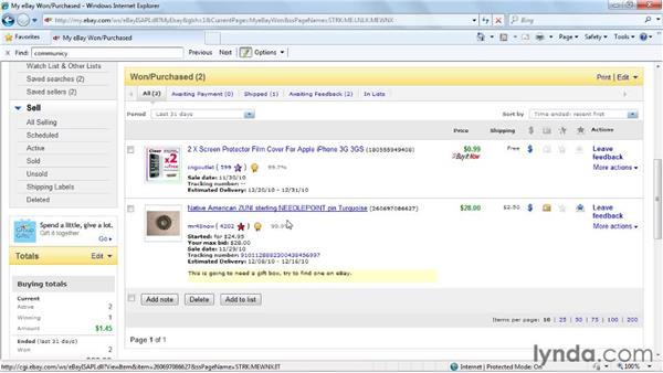 Leaving feedback: eBay for Buyers Essential Training