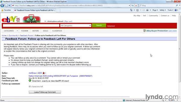 Following up on feedback: eBay for Buyers Essential Training