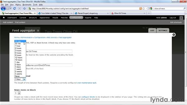 Subscribing to RSS feeds: Drupal 7 Essential Training