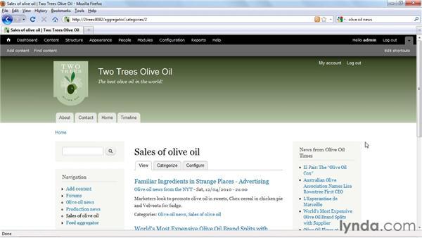 Categorizing RSS feeds: Drupal 7 Essential Training