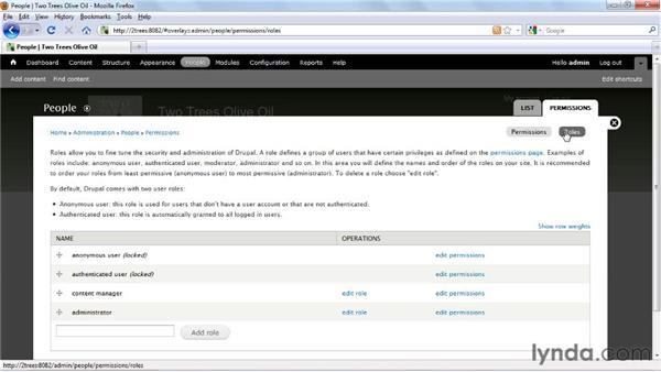 Defining user roles: Drupal 7 Essential Training