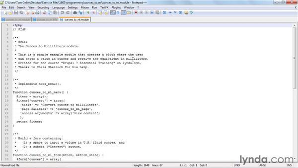 Programming modules: Drupal 7 Essential Training