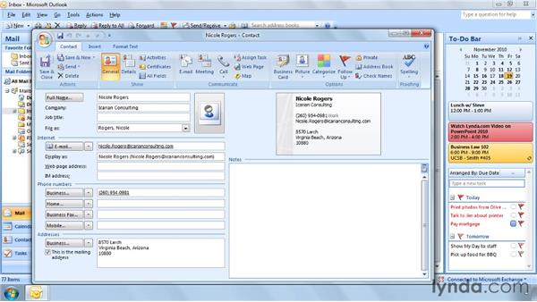 Finding a contact in seconds: Outlook 2007 Power Shortcuts