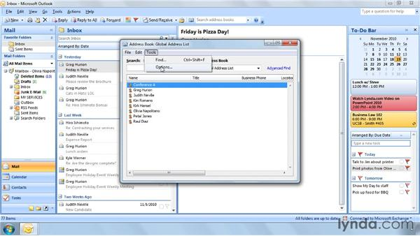 Setting your default Address Book: Outlook 2007 Power Shortcuts