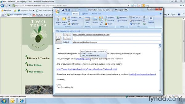 Adding hyperlinks to an email: Outlook 2007 Power Shortcuts