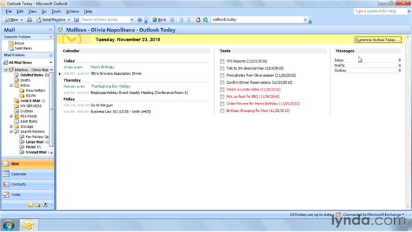 Using Outlook Today: Outlook 2007 Power Shortcuts