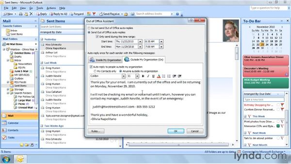 Setting an out-of-office message: Outlook 2007 Power Shortcuts