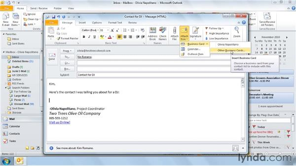 Sending business cards via email: Outlook 2010 Power Shortcuts