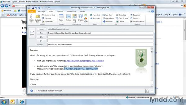 Adding hyperlinks to an email: Outlook 2010 Power Shortcuts