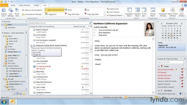 Conversation view: Outlook 2010 Power Shortcuts