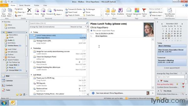 Two ways to find an email: Outlook 2010 Power Shortcuts