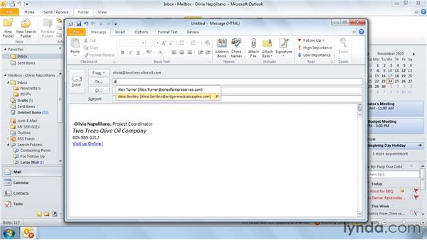 Three ways to use your Address Book: Outlook 2010 Power Shortcuts