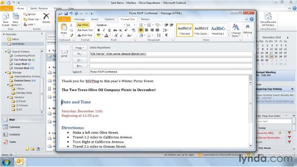 Five ways to use formatting effectively: Outlook 2010 Power Shortcuts
