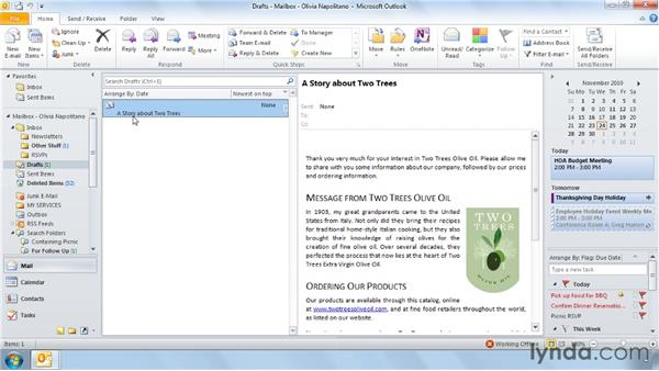 Two unusual ways to use the Drafts folder: Outlook 2010 Power Shortcuts