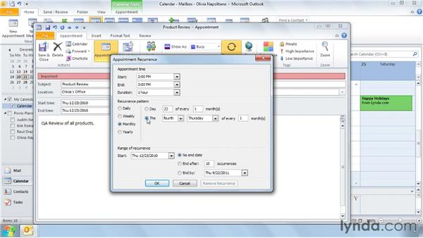 Creating recurring appointments: Outlook 2010 Power Shortcuts