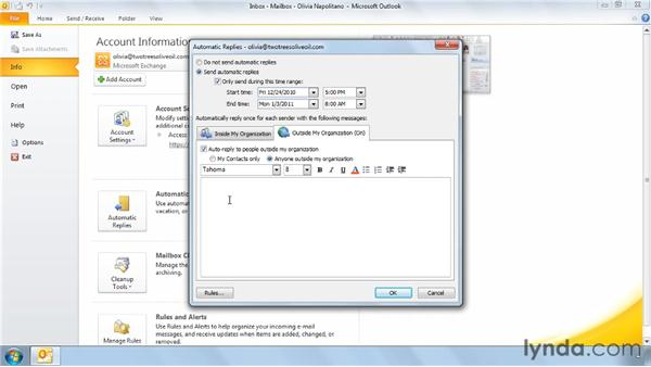 Setting an out-of-office message: Outlook 2010 Power Shortcuts