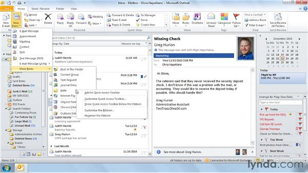 Customizing the Quick Access Toolbar: Outlook 2010 Power Shortcuts