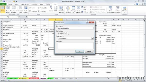 Reviewing the recording method: Excel 2010: Macros in Depth