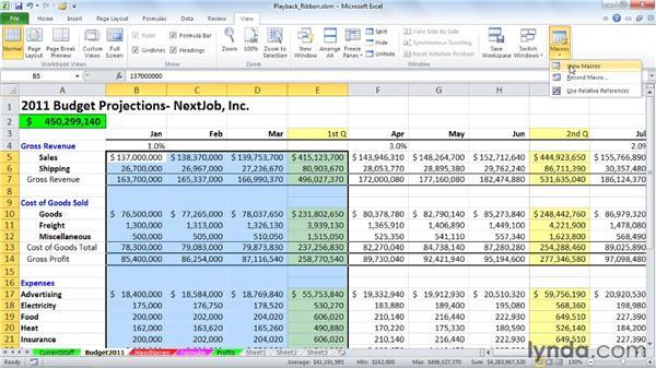 Running macros from the View tab: Excel 2010: Macros in Depth