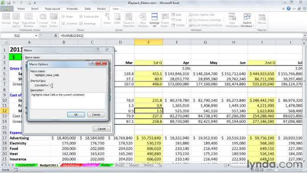 Running macros from a keyboard shortcut: Excel 2010: Macros in Depth