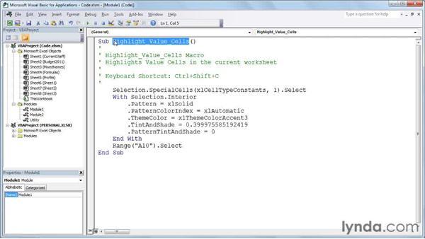 Introducing the VBA environment: Excel 2010: Macros in Depth