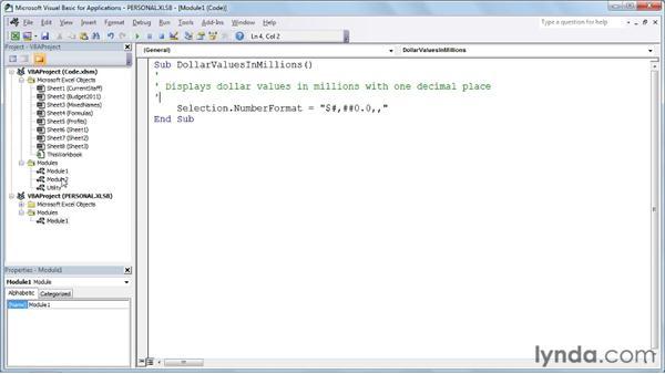 Viewing the VBA components: Excel 2010: Macros in Depth