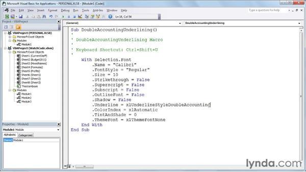 Recording a simple macro: Excel 2010: Macros in Depth
