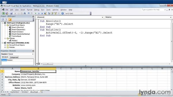 Understanding absolute and relative references: Excel 2010: Macros in Depth