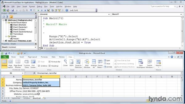 Using For and For...Next statements: Excel 2010: Macros in Depth