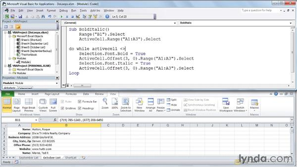 Using Do...While and Do...Until statements: Excel 2010: Macros in Depth