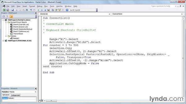 Using loop structures in context: Excel 2010: Macros in Depth