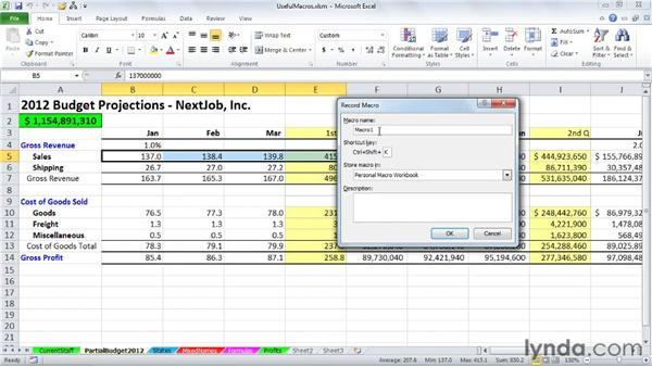 Creating a personal macro workbook for macros with wide applicability: Excel 2010: Macros in Depth