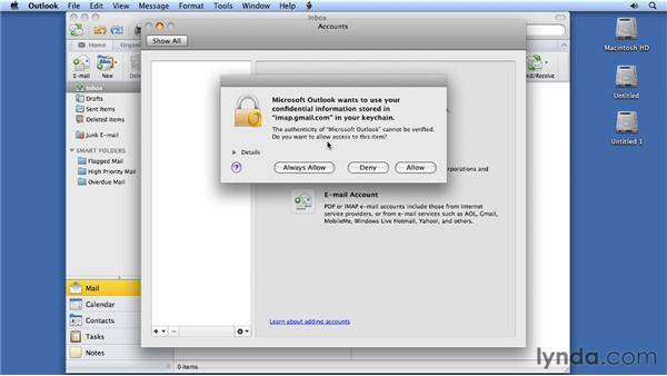 Creating accounts: Migrating from Entourage 2008 for Mac to Outlook 2011