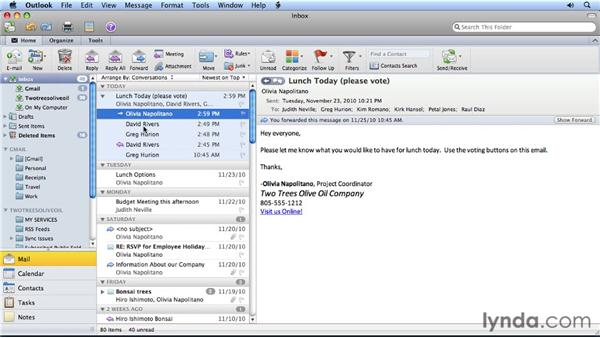 Viewing email conversations: Migrating from Entourage 2008 for Mac to Outlook 2011