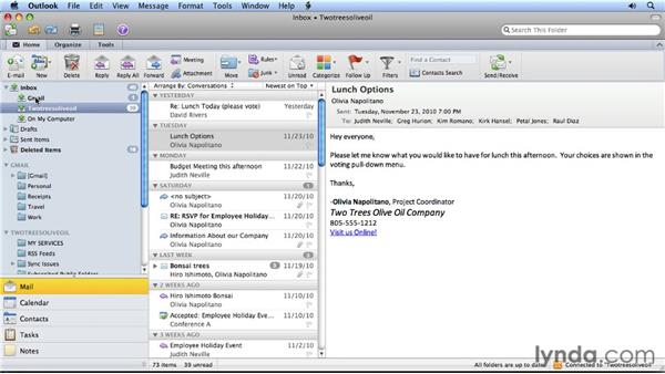 Synchronizing your folders: Migrating from Entourage 2008 for Mac to Outlook 2011