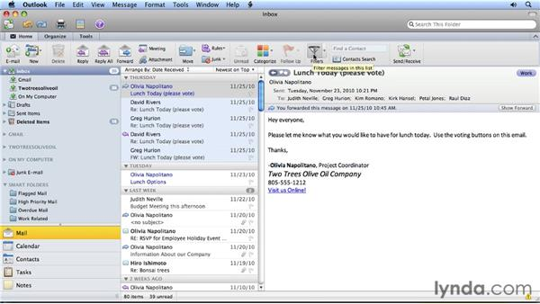 Filtering messages: Migrating from Entourage 2008 for Mac to Outlook 2011