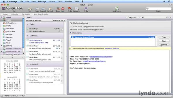 Previewing attachments: Migrating from Entourage 2008 for Mac to Outlook 2011