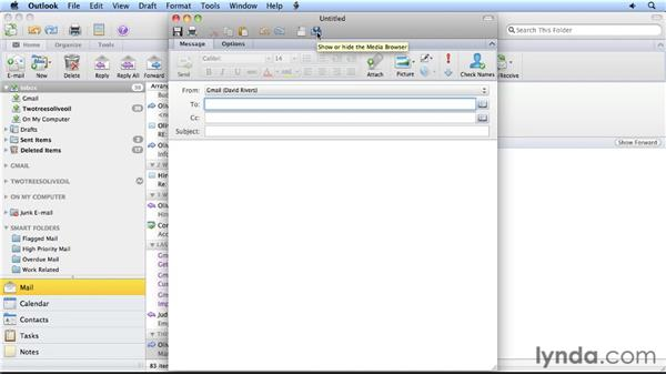 Attaching from a media browser: Migrating from Entourage 2008 for Mac to Outlook 2011