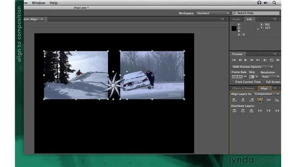 Aligning and distributing: After Effects Apprentice 02: Basic Animation