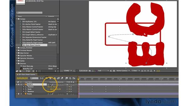 Slamming down with Hold keyframes: After Effects Apprentice 03: Advanced Animation