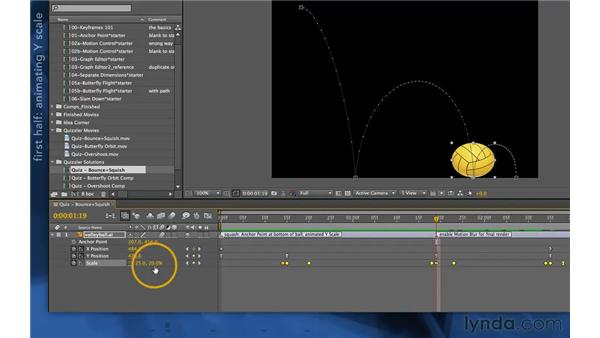 Quizzler solution one: Bounce and squish: After Effects Apprentice 03: Advanced Animation
