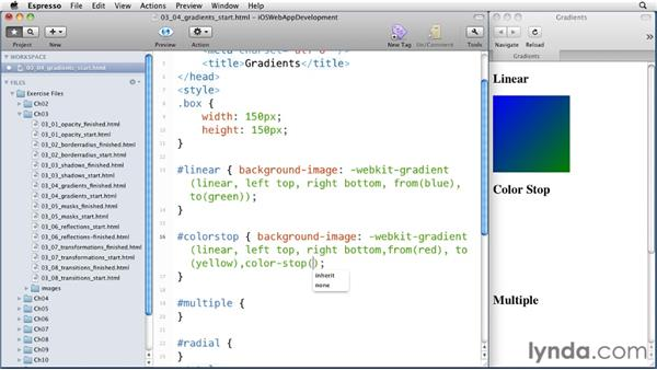 Using gradients: iOS 4 Web Applications with HTML5 and CSS3
