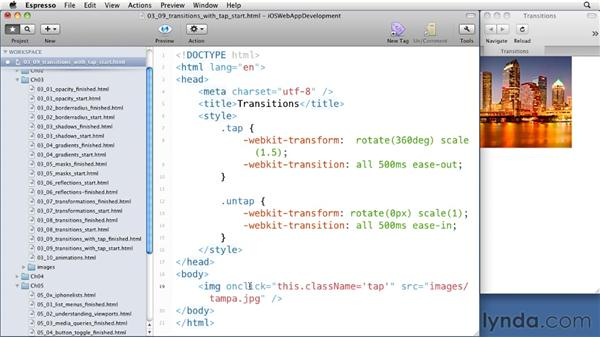 Triggering transitions with a tap: iOS 4 Web Applications with HTML5 and CSS3