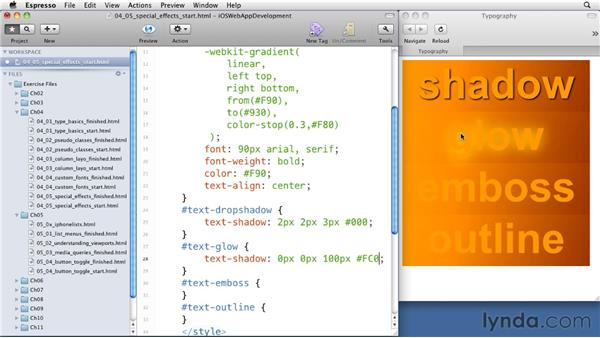 Creating special effects on type: iOS 4 Web Applications with HTML5 and CSS3