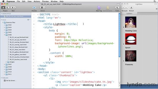 Setting up a lightbox: iOS 4 Web Applications with HTML5 and CSS3
